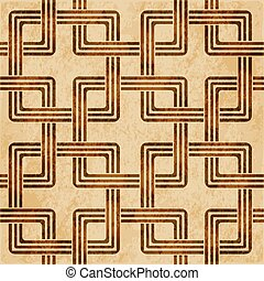 Retro brown watercolor texture grunge seamless background square cross spiral chain frame