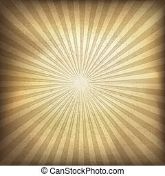 retro, brun, sunburst, bakgrund., vektor, illustration,...