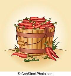Retro bucket of chili peppers