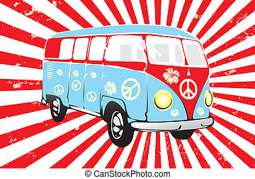 Retro van in red and blue - hand drawn illustration