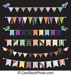 Retro bunting and garland set vector. Template for design.