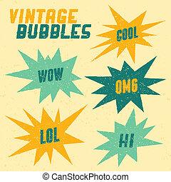 retro, burbujas, colección