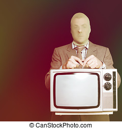 Retro burglar stealing television on black