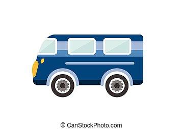 Retro bus, holiday van. Cartoon illustration. Vector.