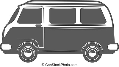 Retro bus icon isolated on white background. Design elements for