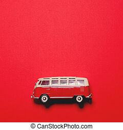 Retro bus on red background - Minimal design
