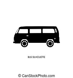 Retro bus silhouette on a white background
