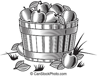 Retro bushel of apples b&w