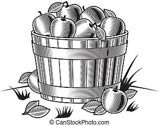 Retro bushel of apples b&w
