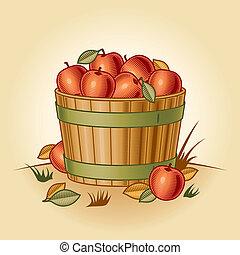 Retro bushel of apples in woodcut style. Vector illustration...