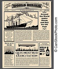 Retro business newspaper, old dirty sheets newsprint vector...