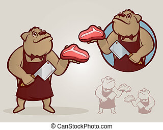 Cartoon dog dressed as a butcher and chopping meat