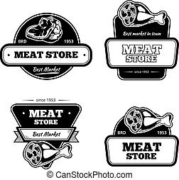 Retro butchery and meat store black badge, label, logo vector set