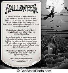 Retro BW Halloween Poster. Ready for Design