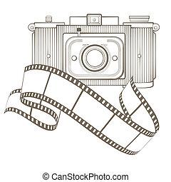 retro, cámara fotográfica de la foto, con, viñeta