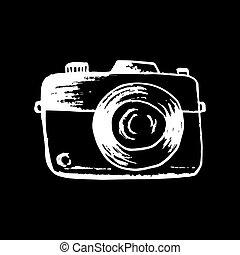 retro, câmera., illustration., mão, foto, desenho
