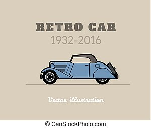 Retro cabriolet car, vintage collection