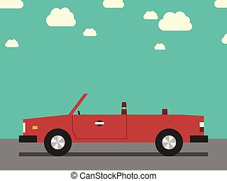 Retro cabriolet, side view