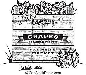 retro, cajón, de, uvas, b&w