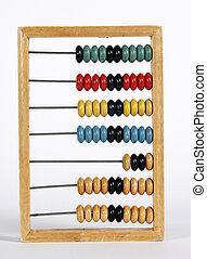retro, calculator:, oud, houten, tellend kader