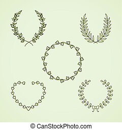 Retro calligraphic wreath vector illustration isolated