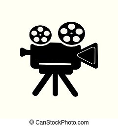 Retro camcorder icon on white isolated background. Vector symbol of a movie, video. An element for your design.