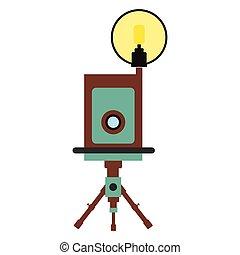 Retro camera flat icon