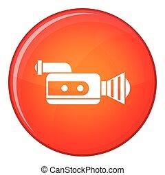 Retro camera icon, flat style