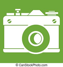 Retro camera icon green
