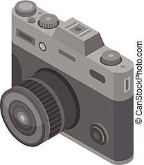 Retro camera icon, isometric style
