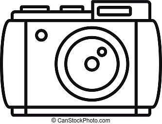 Retro camera icon, outline style