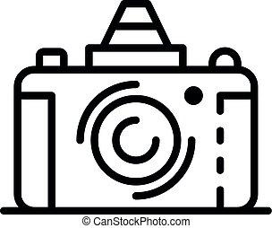 Retro camera icon, outline style