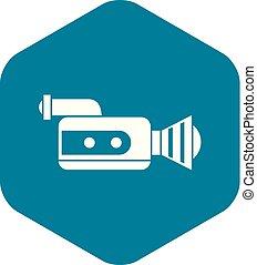 Retro camera icon, simple style