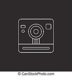 retro camera icon, vintage photography
