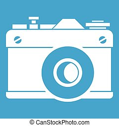 Retro camera icon white