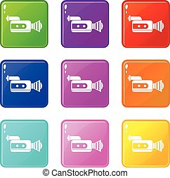 Retro camera icons 9 set