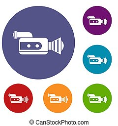 Retro camera icons set in flat circle reb, blue and green...