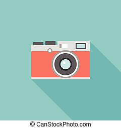 retro camera illustration icon vector, flat design with long...