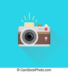 Retro camera in a Flat style. Vector.
