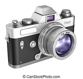Retro camera isolated on white background