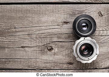 retro camera lenses on the table - retro camera lenses on ...