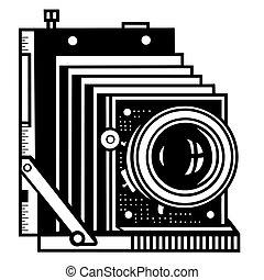 retro camera on white background. vector