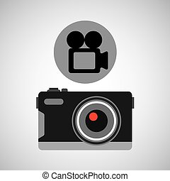 retro camera photographic record video vector illustration...