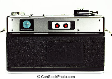 Retro camera with film for photography. Photographer love to take photo with old camera and film with feeling classic. The film camera not popular in present because digital camera instead.
