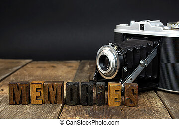 retro camera with letterpress type