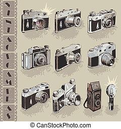 retro, cameras, verzameling