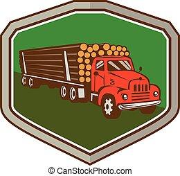 retro, caminhão, escudo, acto derrubar árvores, vindima