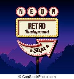 retro, camino, lights., cartelera, signo., vendimia, publicidad
