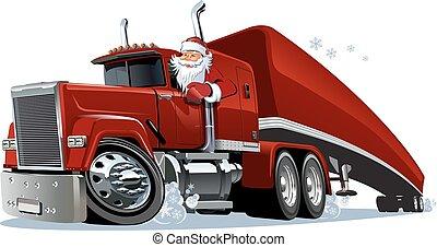 retro, camion, noël, dessin animé