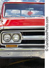 retro, camion rosso